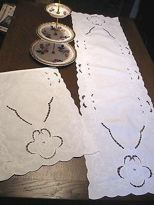 SET 2 Vintage WHITE COTTON Table Runners Mats -WHITE ON WHITE EMBROIDERY CUTWORK
