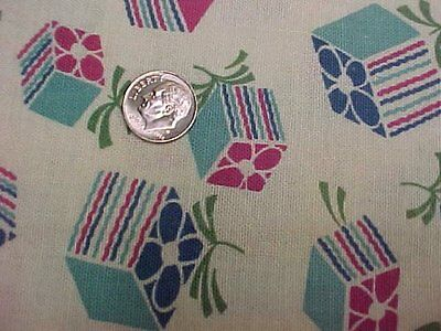 BEST Vintage Feedsack Quilt Fabric 40s Novelty Packages Bows Flour Sack Material