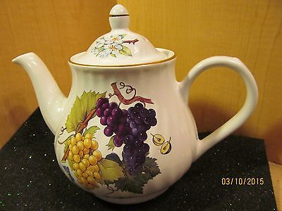 ARTHUR WOOD & SON STAFFORDSHIRE ENGLAND TEAPOT FRUIT PATTERN W/GOLD TRIM  6459