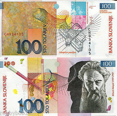 SLOVENIA 100 Tolar Banknote World Paper Money UNC Currency Pick p-31 Bill Note