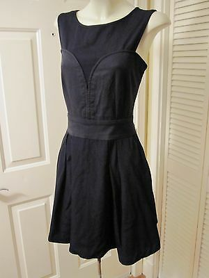 BLOOMINGDALES REISS BLACK CORSET BUST ILLUSION SEXY PARTY DRESS SIZE USA 8 M