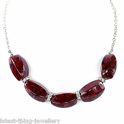 Marks And Spencer Necklace Red Black Fleck Bead Silver Crystal Ring Design