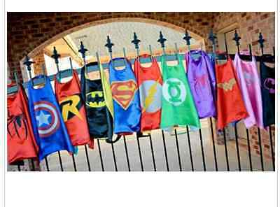 Childrens Kids Double Layered Reversible Super Hero Cape Parties Fancy Dress