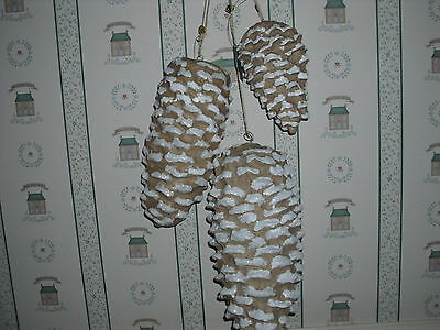 BETHANY LOWE-NATURAL PINECONES-LARGE-SETOF 3 -NEW