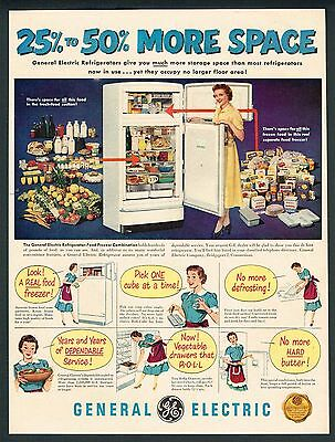 1950 Magazine Ad General Electric GE Refrigerator Filled With Food #EA011