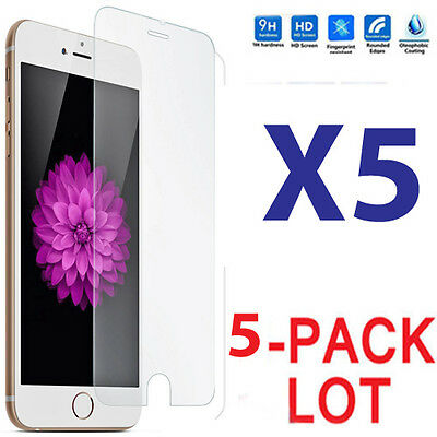 5x Wholesale Lot Tempered Glass Screen Protector for Apple iPhone 6 Plus