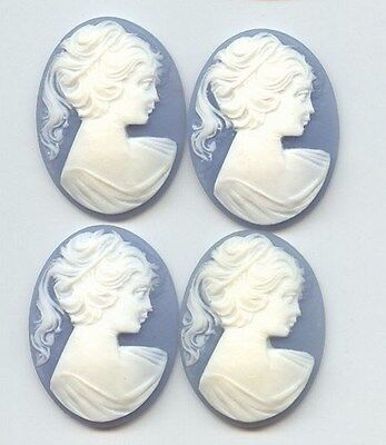 3 VINTAGE WEDGEWOOD BLUE ACRYLIC LADY HEAD PONY TAIL 40x30mm. OVAL CAMEOS C47