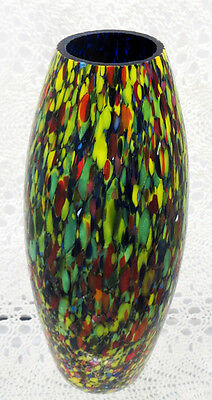 Beautiful Czechoslovakian Multi Colored Art Glass Vase - Circa 1920'S