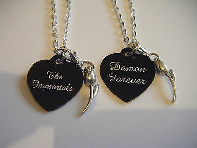 The Immortals Evermore Blue Moon *Damon Forever* Heart/Tulip Necklace Book Inspi