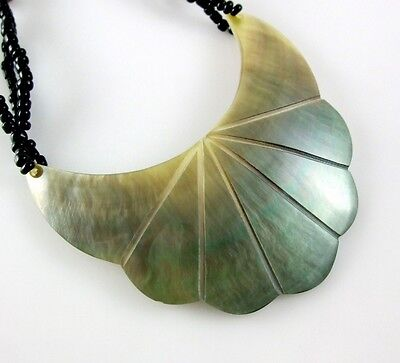 CRESCENT FLOWER MOTHER-OF-PEARL BEADS necklace ;BA063