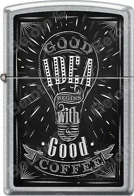 Zippo Good Idea With Good Coffee Sign Street Chrome WindProof Lighter *NEW*
