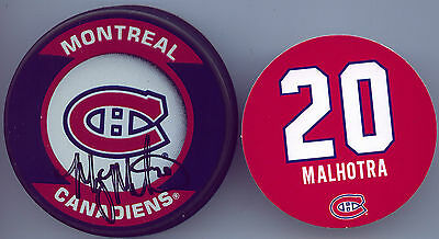 MANNY MALHOTRA MONTREAL CANADIENS HAND SIGNED PUCK AUTOGRAPH AUTO