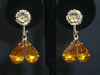 Flower Earrings with 2 Tear Drop hanging faceted Amber glass earrings