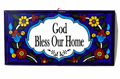 God Bless Our Home Ceramic Armenian Wall Hanging Jerusalem Holy Land welcome