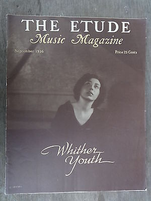 The Etude Music Magazine September, 1936 Excellent Condition