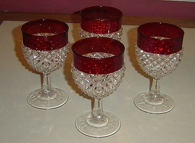 4 Indiana? Glass Ruby Red Flashing Kings Crown Diamond Point Wine Goblets