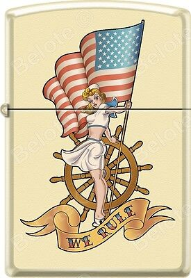 Zippo Pinup Nautical Flag Cream Matte WindProof Lighter NEW