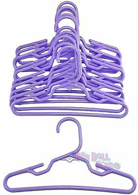 "24 Purple Hangers Plastic fit 18"" American Girl Doll Clothes Hangers Accessories"