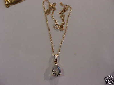 FAB 14kt Gold Fill 18 Inch Chains Gold Vermeil 10x7 CZ Drop WIN 2 Necklaces (271