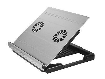 Monoprice 8420 Adjustable Aluminum Laptop Riser Cooling Stand Built-In 70mm Fan
