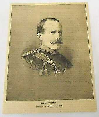1884 magazine engraving ~ BARON VERNON Seconder House of Lords