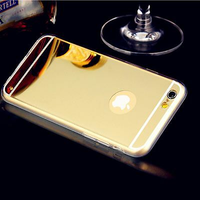 Gold Slim Soft Aluminum Metal Plated Mirror TPU Case Cover for iPhone 6 Plus 5.5