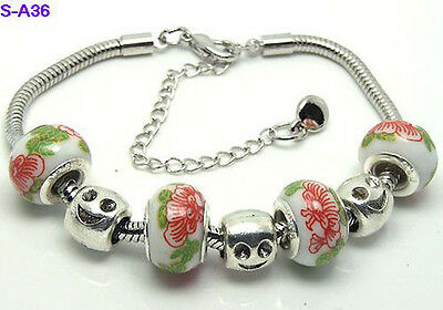 one new style handmade charm bracelet fit Europe porcelain beads S-A36