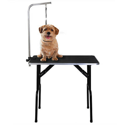 Pet Dog Cat Grooming Table 35'' x 21.7'' Adjustable W/Arm&Noose Rubber Mat