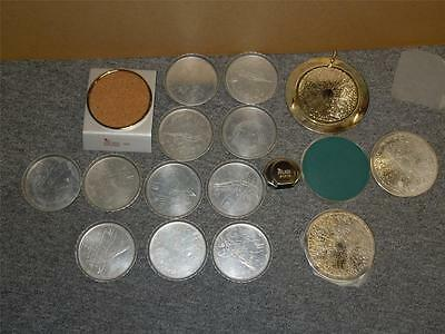 Vintage Lot of 2 Coaster Sets Tin with Print Design & Silver Plate in Good Cond