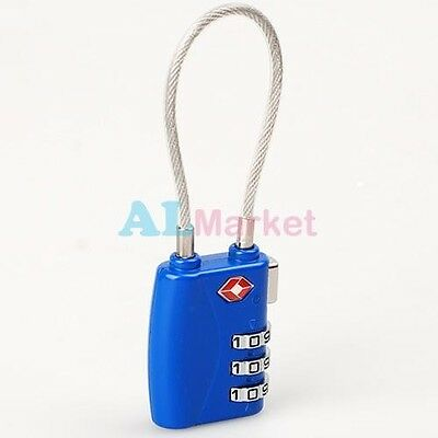 TSA Resettable 3 Dial Combination Safe Travel Luggage Suitcase Code Lock Blue