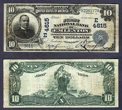 """**RARE** $10 1902 **EMLENTON, PA."""""""" CH#4615 ONLY/KNOWN DATE/BACK NICE MID/GRADE"""