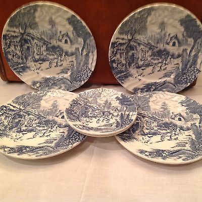 Antique Country French Dinner Ware, Japan, Four Dinner Plates, Two Dessert Plate