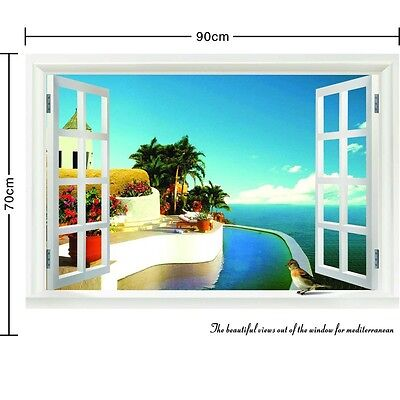 Sunshine Beach 3D Window View Removable Wall Art Stickers Vinyl Decal Home Decor