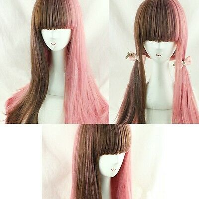 Women's Lolita Hair Long Curly Wavy Full Wigs Cool Cosplay Party Wig Pink+Brown