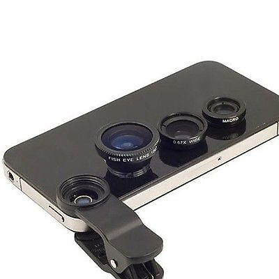 Universal Clip 3in1 Fish eye Macro Wide Angle Lens for All phones iPhone 6 5S 5C
