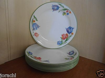 "CORELLE FRESH TULIPS, SET OF 4, 7.25"" BREAD & BUTTER PLATES, EXC"