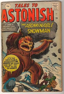 Marvel Comics VG-  #24 TALES TO ASTONISH  ABOMINABLE SNOWMAN 1961