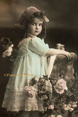 LOVELY GIRL WITH ROSES Vintage Postcard Image Photo, Blank Card Or Print CE108