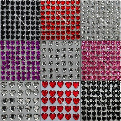 Heart Stick On Self Adhesive Rhinestone GEMS 3.2mm 4mm 6mm 10mm Clear Red Pink
