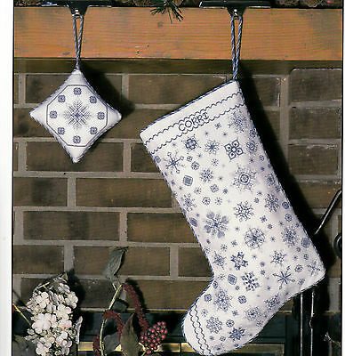 LET IT SNOW CHRISTMAS STOCKING ROSEWOOD MANOR COUNTED CROSS STITCH PATTERN