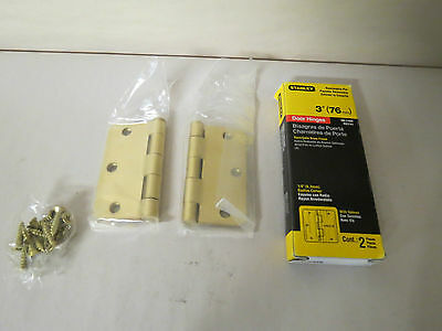 "STANLEY HARDWARE RD741 3"" X 3"" DOOR HINGES SATIN BRASS FINISH BOX OF 2-NEW"