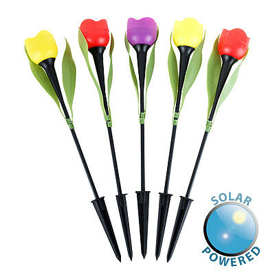 Pack of 5 Multi Coloured Outdoor Solar Powered LED Tulip Spike Garden Lights