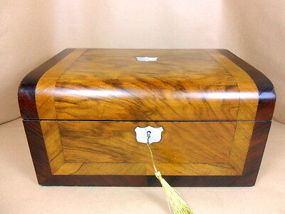ANTIQUE VICTORIAN  WALNUT  DOME TOP JEWELLERY/SEWING  BOX.C1860-1880 ( Code 301
