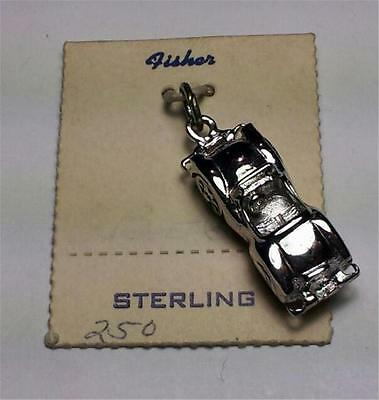 Vintage Fisher Sterling Silver - Foreign Car Movable Wheels Charm - New On Card