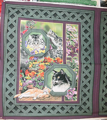 1 Yd. Wild life Quilt Fabric Cat Nap Wall Hanging Panel Cats Flowers