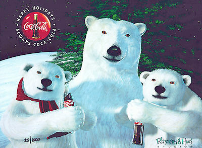 Cub's Day Out Coke Coca-Cola Polar Bear Cel Ad Advertising Art New