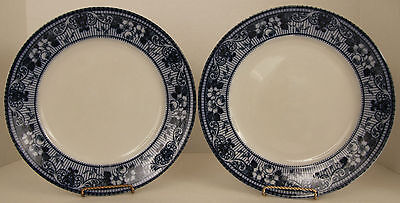 """Ford and Sons Brentford 10 5/8"""" Flow Blue Plate Set ca.1908 F & Sons England X2"""
