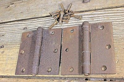 "2 screen door hinges 3 1/2 x 3 1/2"" old vintage screws loose pin butt rustic"