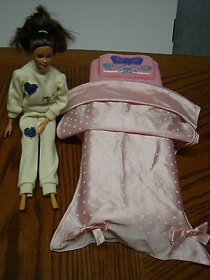Barbie size doll and Bed, Bedding blanket, Doll dated 1966/1990 Indonesia