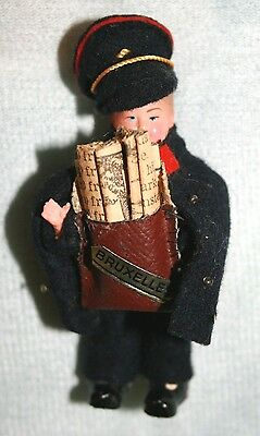 """Vintage '30s '40s Miniature 3"""" Male Postman Doll from Brussels, Belgium"""